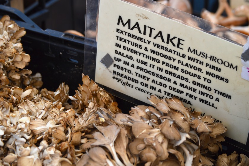 my first time seeing Maitake mushrooms, the vendor said they're super delicious. I didn't buy any though, don't have too much experience cooking mushrooms.